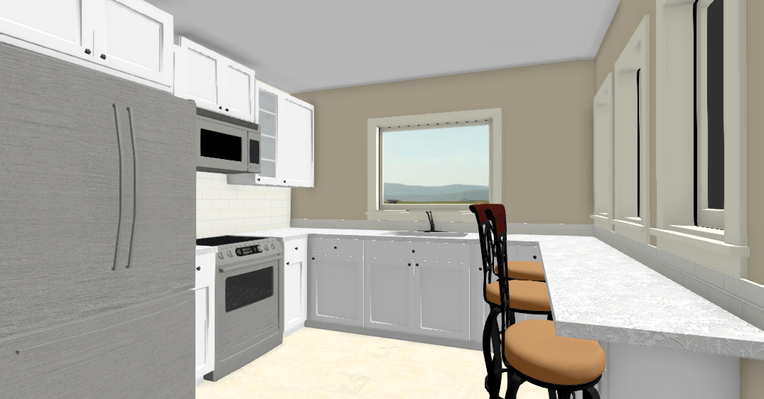 A very large and bright kitchen is perfect for a serious cook in this small prefab home plan