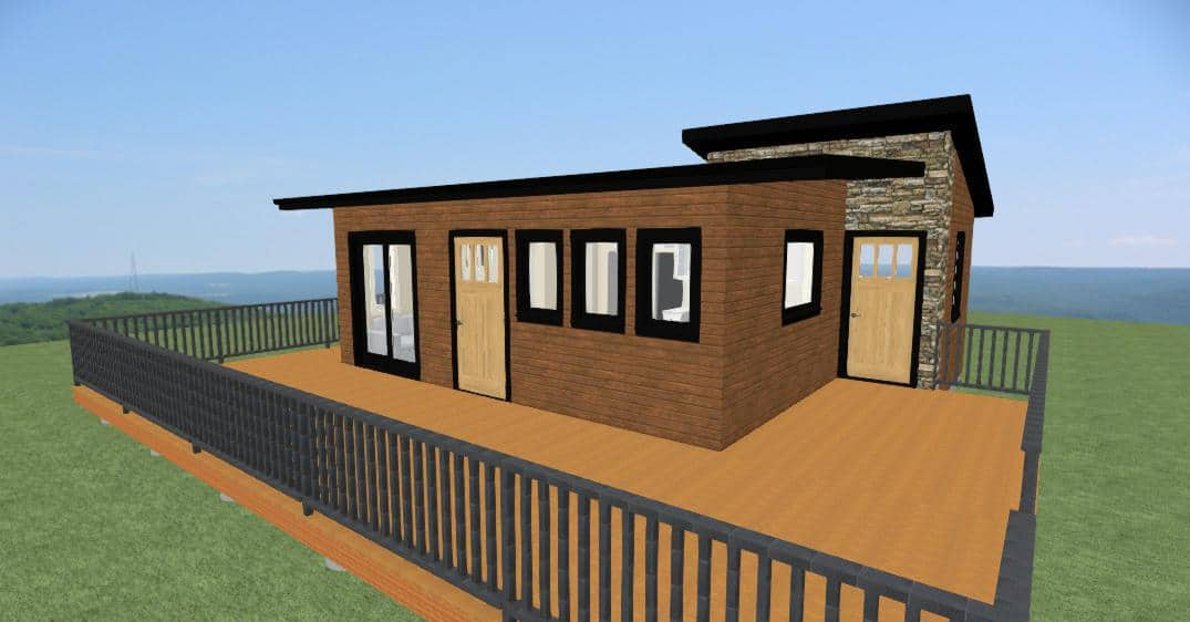 Nelson Home Plan has uniqe access from private and public spaces to the large wrap around deck.  It features a fun Shed style roof line with a modern feel.